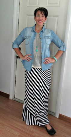 Try wearing a striped maxi skirt as neutral with other colors and textures. Fashion over 40