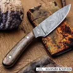 ALONZO KNIVES USA CUSTOM HANDMADE DAMASCUS TACTICAL SKINNER KNIFE MAPLE WOOD2633