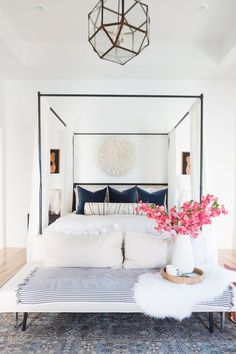 How to Use a Juju Hat in Home Decor navy modern master bedroom navy black and white home decor juju hat above bed juju hat bedroom decor black nigh stands marble lamps gold base sofa at the end of bed - March 16 2019 at Modern Master Bedroom, Master Bedroom Design, Home Decor Bedroom, Bedroom Ideas, Bedroom Black, Bedroom Designs, Modern Minimalist Bedroom, Diy Bedroom, Bedroom Inspo