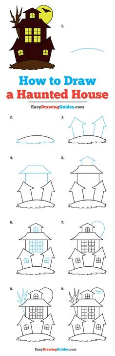 Learn How to Draw Haunted House: Easy Step-by-Step Drawing Tutorial for Kids and Beginners. #Haunted House #drawingtutorial #easydrawing See the full tutorial at https://easydrawingguides.com/how-to-draw-a-haunted-house/.