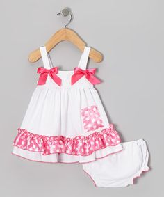 Take a look at this Pink Polka Dot Top & Diaper Cover - Infant, Toddler & Girls by Seesaws & Slides on #zulily today!