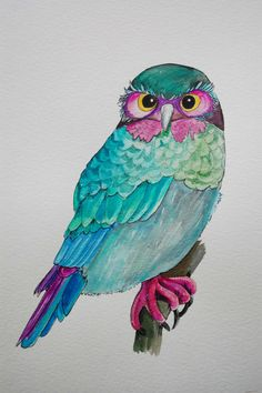 'Green and Purple Owl' by Kathryn of Hurlingham Road