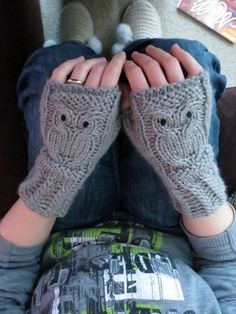 Knitted owl wrist warmers. Pattern was featured in Mollie Makes.