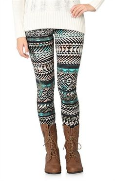 Deb Shops Multicolor #Tribal Print #Legging $8.94