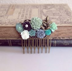 Wedding Hair Comb Sage Green Teal Aqua Blue Mint Bridal Hair Accessories Leaf Flower Head Piece Floral Head Comb Bridesmaid Autumn Fall Woodland Style Something Old