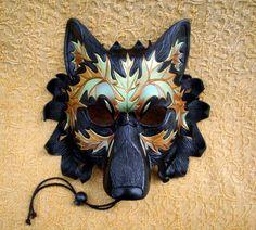 Iridescent Autumn Leaf Wolf Mask ...original hand made leather wolf mask