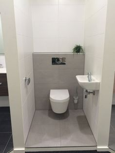 Small Bathroom Design with Separate toilet Room Lovely Hellgrau Bathroom toilet Wc Badkamer Muurtje toiletpot Mosa Tegels Cheap Bathrooms, Grey Bathrooms, Modern Bathroom, White Bathroom, Modern Sink, Ikea Bathroom, Bathroom Design Small, Bathroom Layout, Bathroom Interior