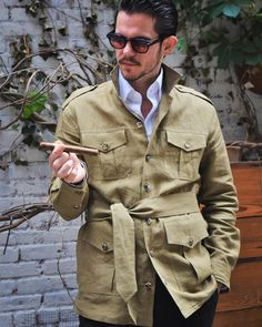 It's a (concrete) jungle out there. admires his uncut cigar in anticipation, wearing the most unusual of This was cut from Whether ur traipsing through or on a more it's the perfect outer layer. Safari Shirt, Safari Jacket, Nyc Fashion, Mens Fashion, African Men Fashion, Fashion Sewing, Gentleman Style, Military Fashion, Mens Clothing Styles