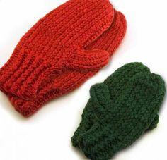 Loom knitting patterns to make mittens.