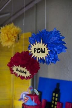Super Hero Decorations omg Amanda you have to help me make these!