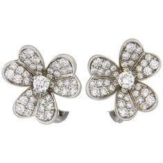 Van Cleef & Arpels Frivole Diamond Gold Flower Earrings  | From a unique collection of vintage more earrings at https://www.1stdibs.com/jewelry/earrings/more-earrings/