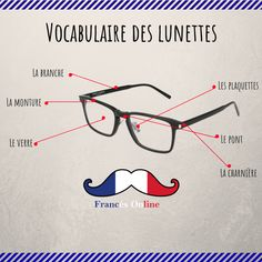 On commence la semaine avec le des lunettes : ------ French Language Lessons, French Language Learning, French Lessons, Useful French Phrases, Basic French Words, French Basics, French For Beginners, French Practice, Learn To Speak French