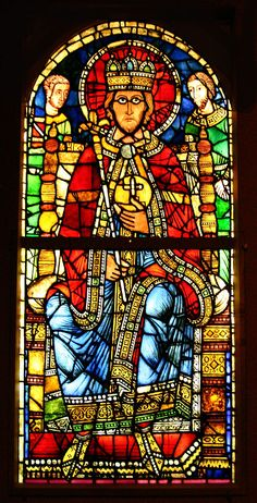 Romanesque stained glass from Strasbourg Cathedral, located in the Cathedral Museum. Subject: the Emperor Charlemagne