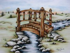Wooden Bridge - This is a Pen & Ink with Oil Rouging pattern packet. If you wish to purchase a completed piece of artwork visit my website on how to contact me and additional details: www.sharonkuester.com