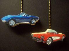 (2) CLASSIC CORVETTE CARS CEILING FAN PULL PULLS