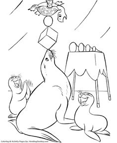 Circus Animal Coloring page | Trained Seals