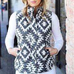 Black And White Geometric Vest