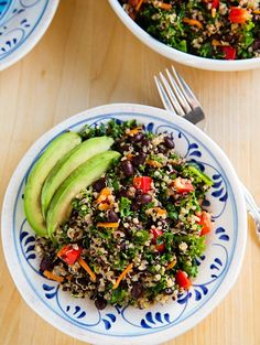 Kale and Quinoa Salad with Black Beans and avocado is not only low in calories but good for your skin with vitamin C, vitamin A, calcium, protein, and naicin to clear blotchy skin, increase cell turnover and more. #eucerinskinfirst #clearskin #beauty