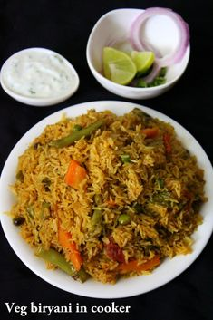 Veg biryani in cooker is a quick rice delicacy made my mixing rice in sauteed veggies. Making vegetable biryani or any other biryani is time consuming and needs lot of patience. This veg biryani needs no patience and can be made very quickly. Veg Recipes, Indian Food Recipes, Vegetarian Recipes, Cooking Recipes, Healthy Recipes, Ethnic Recipes, Arabic Recipes, Cooking Tips, Pasta Recipes