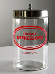 Vintage Medical Jar for Tongue Depressors by rightsideofthegrass,