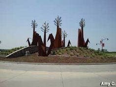 Marion, IA - Corn Sculpture in Iowa Corn Field