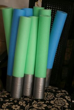 lightsabers...spray with glow in the dark spray paint...good idea for some glow in the dark fun!!!