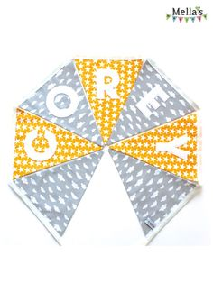 Personalised BUNTING made by me over at www.facebook.com/mellasmakings Personalised Bunting, Grey Yellow, Kids Bedroom, Playroom, Birthday Parties, Flag, Facebook, Color, Anniversary Parties