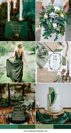 50+ Prettiest Spring Wedding Color Inspirations--green and white, geode wedding cake, wedding dresses, wedding invitations with greenery