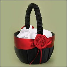"WeddingDepot.com ~ Midnight Rose Flower Girl Basket ~ The Midnight Rose flower girl basket is covered with a black matte satin along with a band of bold red ribbon and ribbon rose accent. Measures 8"" tall."