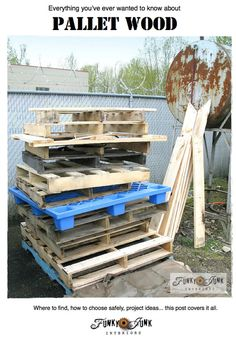 Everything you've ever wanted to know about PALLET WOOD / How to choose safely, how to prepare it, project ideas. This post covers it all. via http://www.funkyjunkinteriors.net/