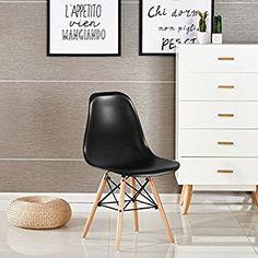 P & N Homewares® Moda Stuhl Kunststoff Retro Esstisch Stühlen Moderne Möbel schwarz