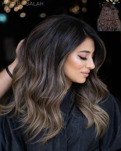 Beige Blonde Hair, Brown Hair Balayage, Hair Color Balayage, Blonde Balayage, Balayage Hair For Brunettes, Ash Brown Bayalage, Bayalage On Dark Hair, Brunette Hair Colors, Ash Blonde Highlights On Dark Hair