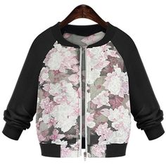 Yoins Yoins Plus Size Pink Contrasting Flower Bomber Jacket ($22) ❤ liked on Polyvore featuring outerwear, jackets, black, bomber jacket, coats & jackets, flight jacket, pink jacket, flower bomber jacket and organza bomber jacket
