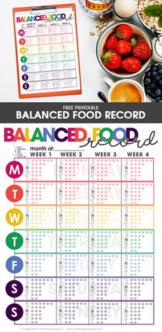 The Balanced Food Tracker Record is a quick way to keep track of your daily food intake. Quickly see your daily servings at a glance.