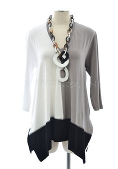 ALEMBIKA T846 SHELBY TUNIC Color Block Top 1 2 3 4 5 6 7 8 WHITE/TAUPE/BLACK   eBay