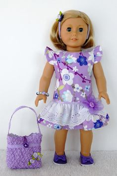 American Girl 18 inch Doll Clothes Dress Purple Flower Eyelet Overskirt Purple Purse (Jennifer Kate pattern by JBS) My American Girl Doll, American Doll Clothes, Ag Doll Clothes, Doll Clothes Patterns, Baby Born Clothes, Bitty Baby Clothes, Ava Doll, Girl Dolls, Doll Outfits