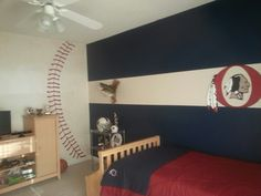 My Son Landons Oneonta Redskin Baseball Room