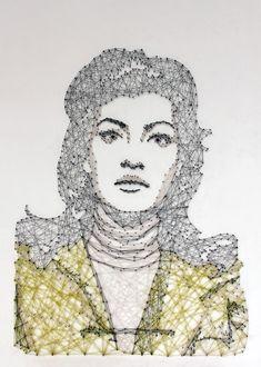 Tacked String Art : the new pamela campagna thread and nail portraits Art And Illustration, Illustrations And Posters, Portrait Art, Portraits, Math Art, Thread Art, Love Art, Art Tutorials, Textile Art