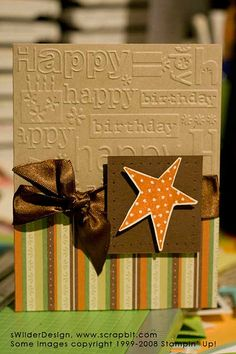 Uses a Cuttlebug embossing folder - easy card for a guy!