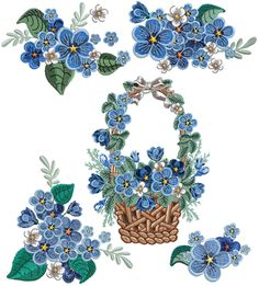 Forget-me-not Set for & Flower Applique Patterns, Wool Applique, Embroidery Applique, Cross Stitch Embroidery, Embroidery Patterns, Embroidery Cards, Machine Embroidery Projects, Forget Me Not, Small Flowers