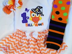 My First Halloween Outfit- Personalized for baby girl. Girls First Halloween with legwarmers and bow by EmbroiderybySharon on Etsy https://www.etsy.com/listing/250888003/my-first-halloween-outfit-personalized