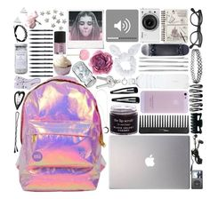 """""""What Is In My Backpack"""" by marie-anderson-i ❤ liked on Polyvore featuring Miss Selfridge, Andrea Fohrman, Cara, Topshop, Polaroid, Clips, Samsung, Sephora Collection, Nikon and Gucci"""