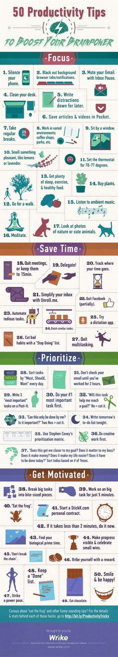 50 Productivity Tips To Boost Your Brainpower - Are you constantly interrupted by 21st-century technology distractions? Here's how you can temporarily phase them out and boost your productivity! - #infographic