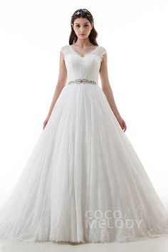 Fantastic A-Line V-Neck Natural Court Train Lace and Tulle Ivory Cap Sleeve Zipper With Buttons Wedding Dress with Appliques Beading and Sashes LD4467#Cocomelody#weddingdress#bridalgown#