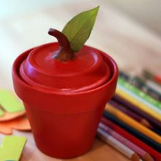 Sweetest Apple Clay Jar EVER!  Use clay pots and tray to create this fun easy project. Kids adore this...