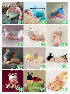 Free shipping 10sets/lot Fashion Cute Newborn Baby Handmade Crochet Knitting Cutton photography props clothing on AliExpress.com. $98.00