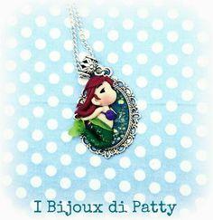 """Necklace with cameo """"The little Mermaid"""", polymer clay"""