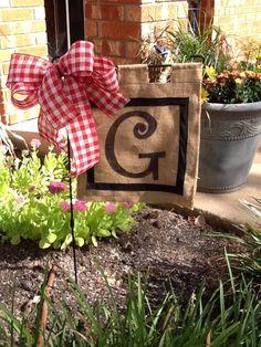 Burlap garden flag that Becky & I made today!