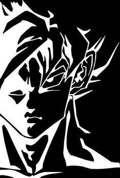 Silhouette Goku Black And White Wallpaper