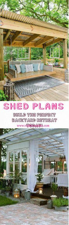 I want a shed!!! Backyard Sheds #pergolaplans #GardenShed